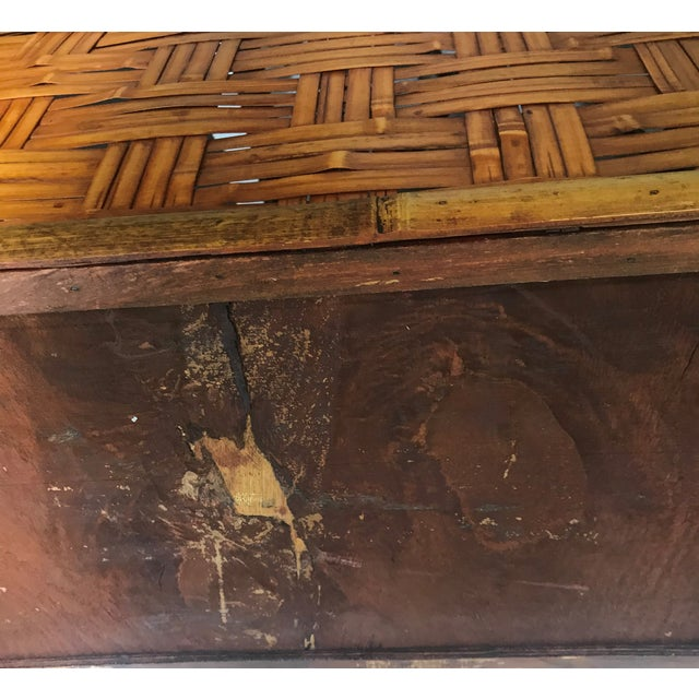 Vintage Handmade Woven Reed Cane & Rattan Basket For Sale - Image 9 of 10