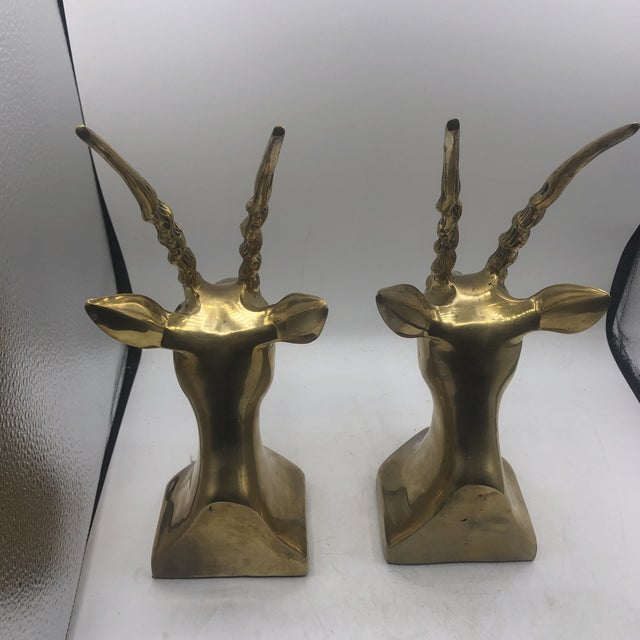 Brass Antelope Bookends - a Pair For Sale - Image 9 of 11