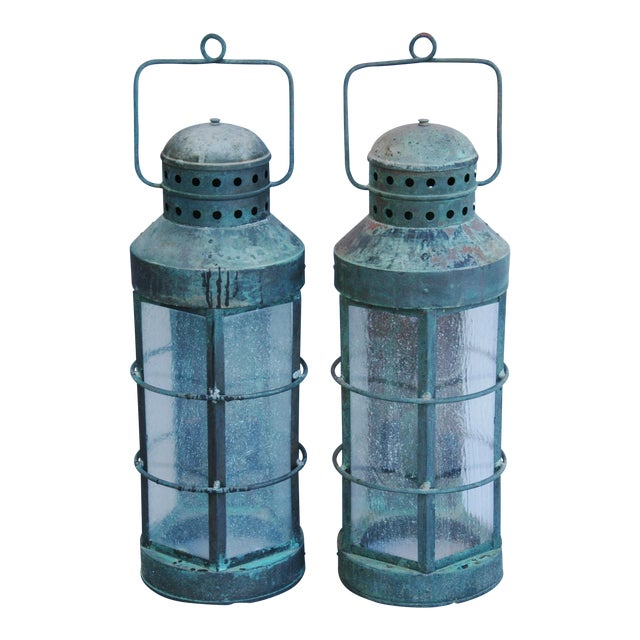 Nautical Copper Lantern Wall Sconces- A Pair - Image 1 of 12