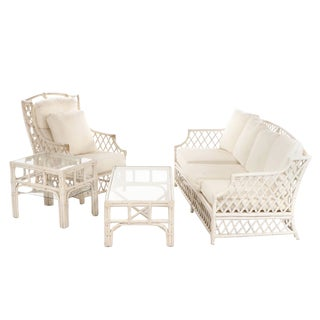 Vintage Ficks Reed Four Piece Lattice Rattan Set For Sale