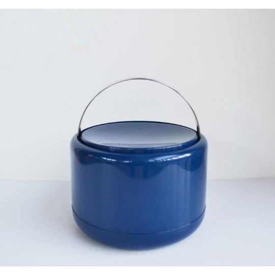 Stelton Vintage Danish Modern Cobalt Blue Ice Bucket For Sale - Image 4 of 9
