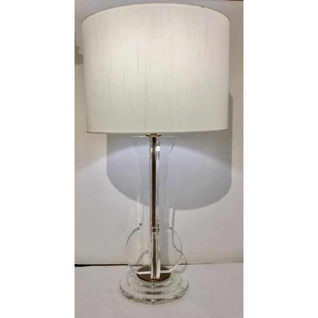 2010s Currey & Co. Modern Optic Crystal Table Lamp For Sale - Image 5 of 6