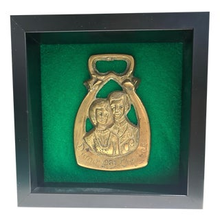 Princess Diana & Charles Wedding Framed Horse Brass