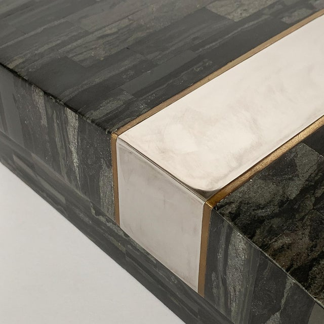 Karl Springer Tessellated Stone, Chrome and Brass Box For Sale - Image 12 of 13