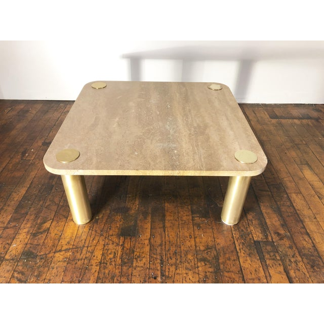 1970s Chic Karl Springer extremely heavy square mid-century modern coffee table with natural travertine stone top with...