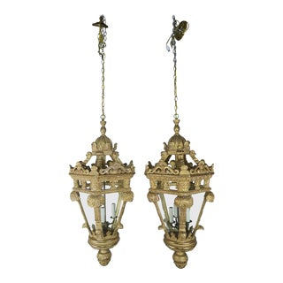 Italian Carved Giltwood Lanterns - a Pair For Sale