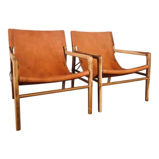 Contemporary Leather Safari-Style Slingback Chairs - a Pair