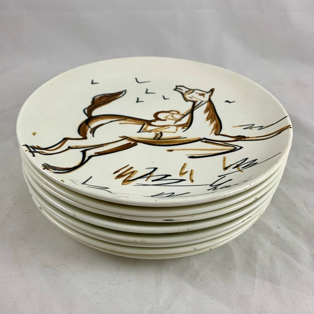 Ed Langbein Mid-Century Modern Hand Painted Italian Jockey on Horses Plates, S/8 For Sale In Philadelphia - Image 6 of 13