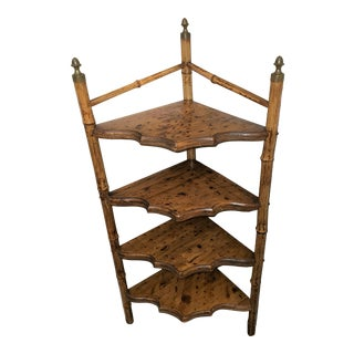 Antique Bamboo Corner Shelf For Sale