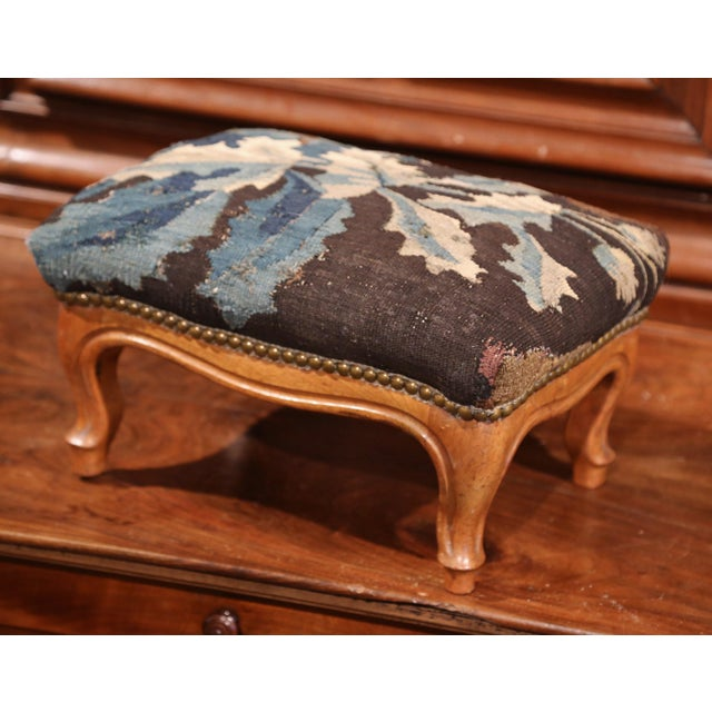 French 19th Century French Carved Walnut Footstool with 18th Century Aubusson Tapestry For Sale - Image 3 of 9