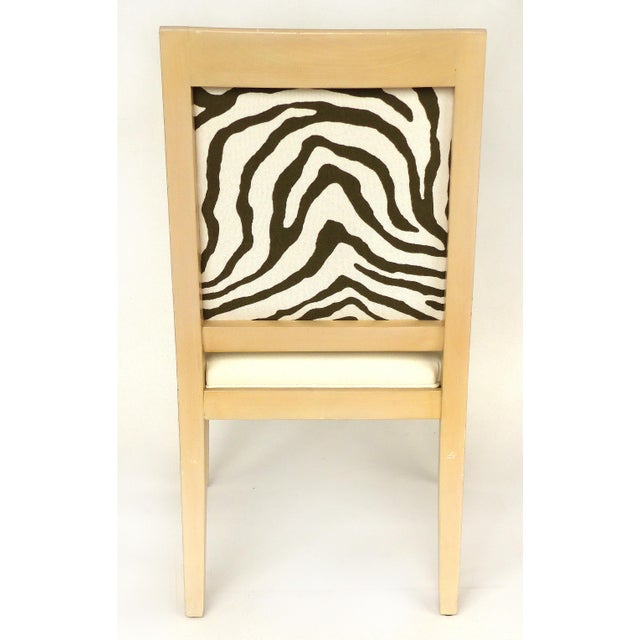1980s Vintage Blond Wood & Zebra Print Upholstery & Dolphin Carved Armchairs- a Pair For Sale - Image 4 of 12