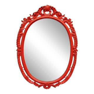 Large Vintage Carved Wood French Rococo Style Red Painted Oval Wall Mirror For Sale