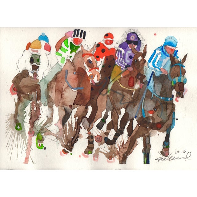 "Steve Klinkel ""The Race"" Watercolor Painting - Image 1 of 2"