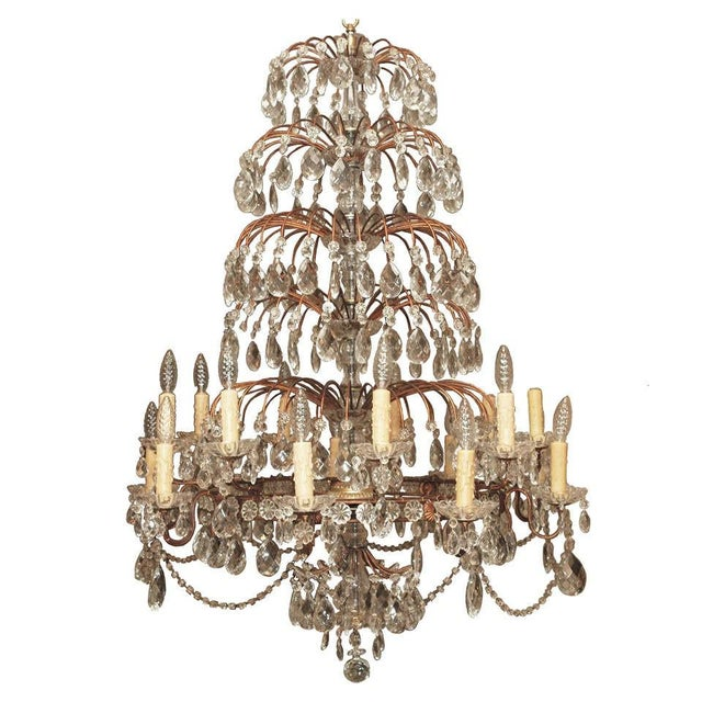 Italian 18 Lite Crystal Tiered Chandelier For Sale - Image 10 of 10