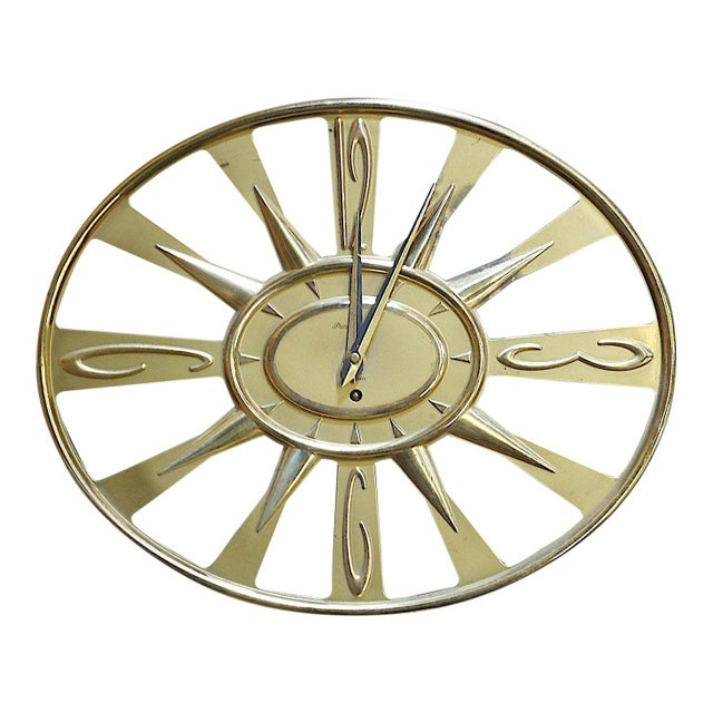 Vintage Mid 20th C. Modern Brass Wall Clock With Key-Phinney Walker Eight Day Clock For Sale In Cincinnati - Image 6 of 6
