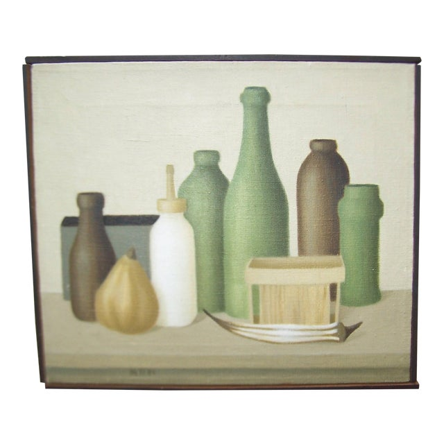 Mid-Century Green Bottles Still Life Painting - Image 1 of 8