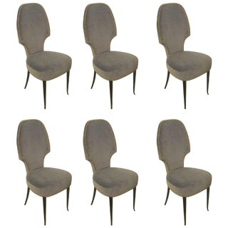 Set of Six Sculptural Italian Dining Room Chairs For Sale