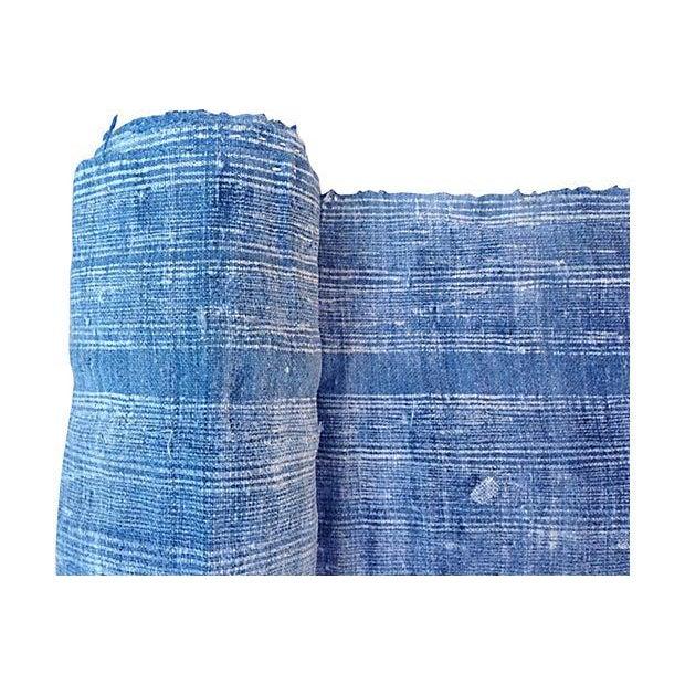 Faded Indigo Batik Textile Fabric - 3.6 Yards - Image 2 of 6