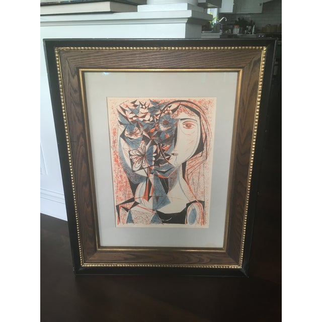 Vintage Mid-Century Richard Zoellner Abstract Woman Flower Lithograph Print For Sale - Image 6 of 13