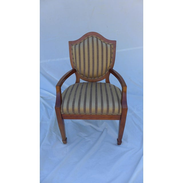 """Mahogany armchair with silky and velvet stripe upholstery. No maker's mark; in excellent condition. Seat 19. """""""