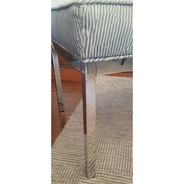 Striped Upholstered Chrome Bench For Sale - Image 4 of 6