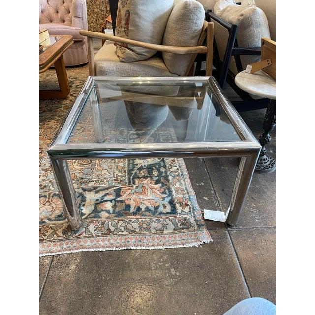 Metal John Mascheroni Mid-Century Modern Tubo Series Chrome and Glass Coffee Table For Sale - Image 7 of 7