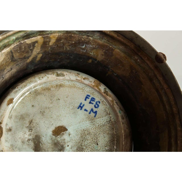 Silver Antique Moroccan Ceramic Vase From Fez For Sale - Image 8 of 9