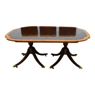 Traditional Councill Mahogany Banded Dining Table For Sale