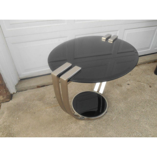 Oval Black Glass & Metal Art Deco Style End Table - Image 3 of 6