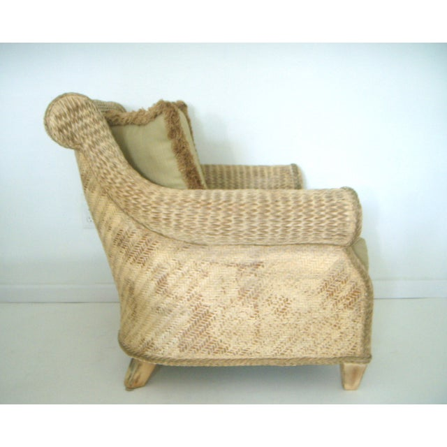 Late 20th Century Oversized Wicker Arm Chairs & Ottoman - a Pair For Sale - Image 5 of 8