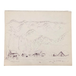 Oconaluftee North Carolina Mountain Drawing 1974 For Sale