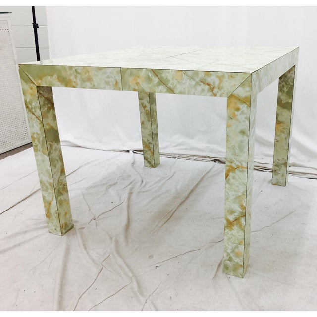 Green Vintage Mid-Century Modern Faux Marble Parsons Table For Sale - Image 8 of 9