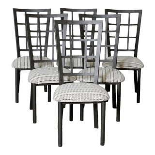 1980s Reupholstered Checkered Dining Chairs - Set of 6 For Sale