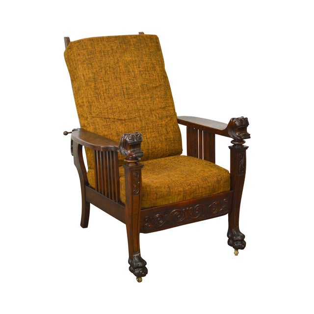 Antique Victorian Oak Griffin Head Claw Foot Morris Chair For Sale - Image  11 of 11 - Antique Victorian Oak Griffin Head Claw Foot Morris Chair Chairish