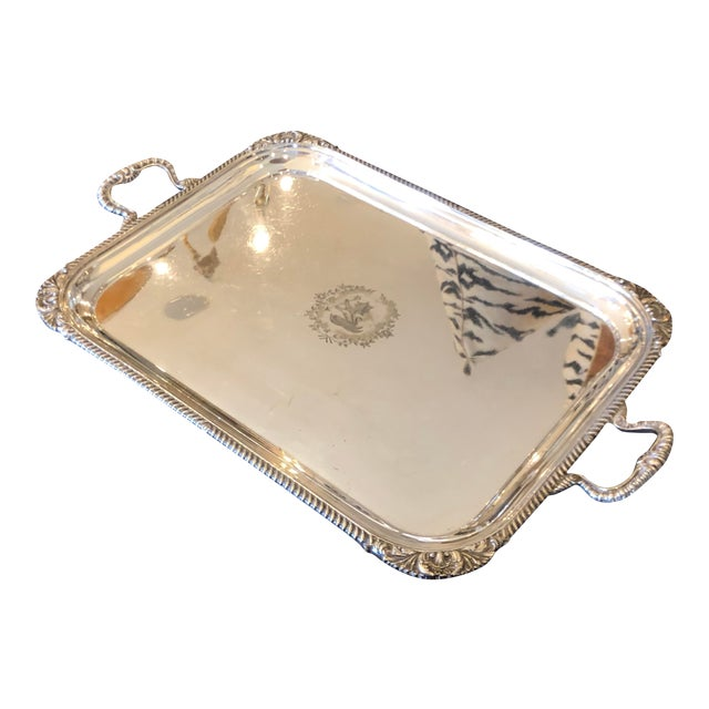 19th Century Antique Mappin & Webb Heraldic Armorial Serpent Crest Silver Tray Platter For Sale