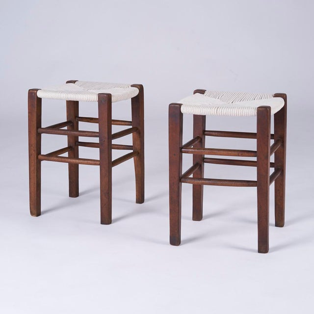"""Pair of midcentury hand woven stools made in France circa 1950s, Perriand style Each measures 12.25"""" square by 16.75"""" high..."""
