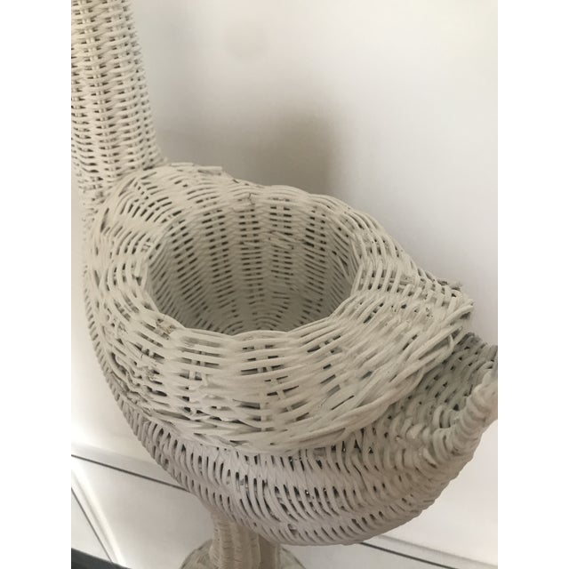 1980s Vintage Rattan Flamingo White Planter For Sale In Atlanta - Image 6 of 13