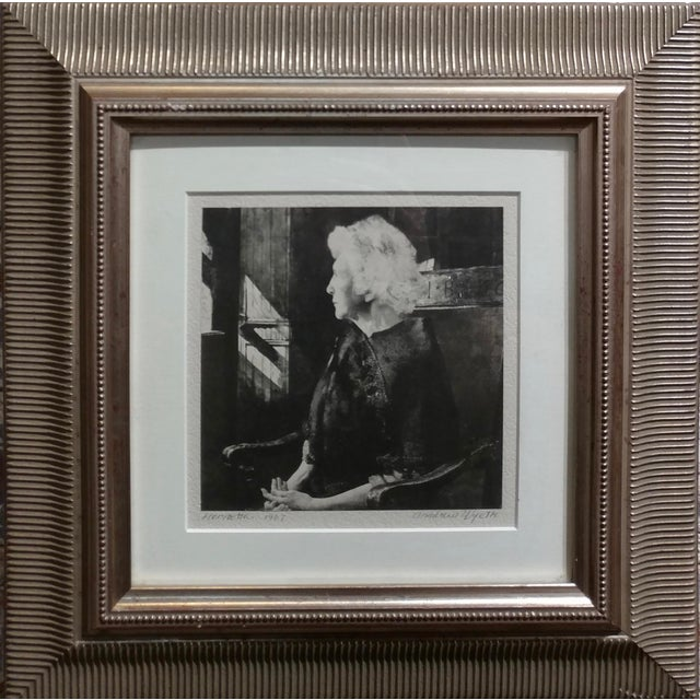 Andrew Wyeth -Portrait of Henrietta - Original 1967 etching etching on paper -signed ,titled and dated 1967 under glass...