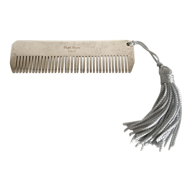 Ralph Lauren Sterling Silver Baby Boy Comb with Blue Tassel For Sale