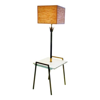 Tommi Parzinger Style Marble and Brass Metal Floor Lamp Side Table For Sale