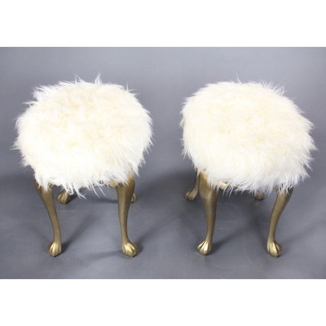 Late 19th Century 19th Century Gold Victorian Hollywood Regency Faux Mongolian Sheep Fur Foot Stools - a Pair For Sale - Image 5 of 7