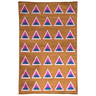 Geometric Maya Ice Cream Hand Woven Modern Cotton Rug, Carpet and Durrie - 2'x3' For Sale