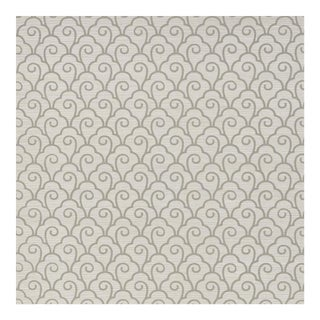 Schumacher Scallop Filigree Sisal Wallpaper in Fog For Sale