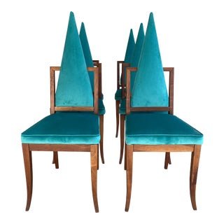 Mid Century High Triangular Back Teal Velvet and Walnut Dining Chairs- Set of 6 For Sale