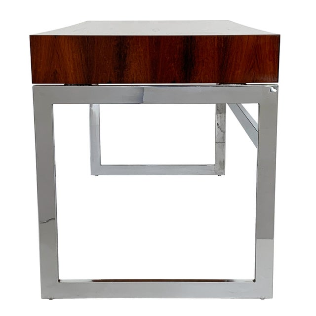 Red Milo Baughman Rosewood and Chrome Desk For Sale - Image 8 of 13