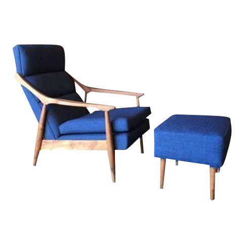 CUSTOM MID CENTURY LOUNGE CHAIR WITH OTTOMAN For Sale