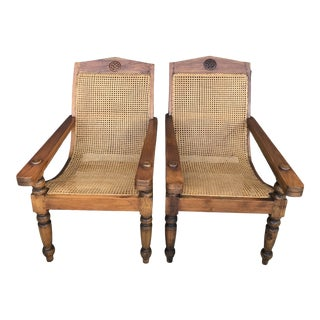 Early-20th Century Bauer Teak and Cane Plantation Chairs-Pair For Sale
