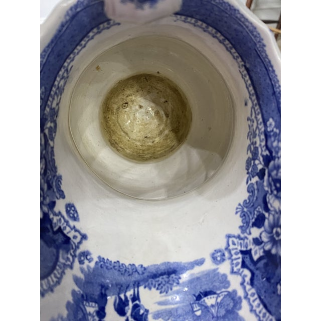 Ceramic Large Antique Early 19th Century Blue and White Staffordshire Transferware Pitcher For Sale - Image 7 of 9