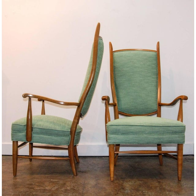 1950's Maxwell Royal American Designed High Back Upholstered Chairs - a Pair For Sale - Image 4 of 8