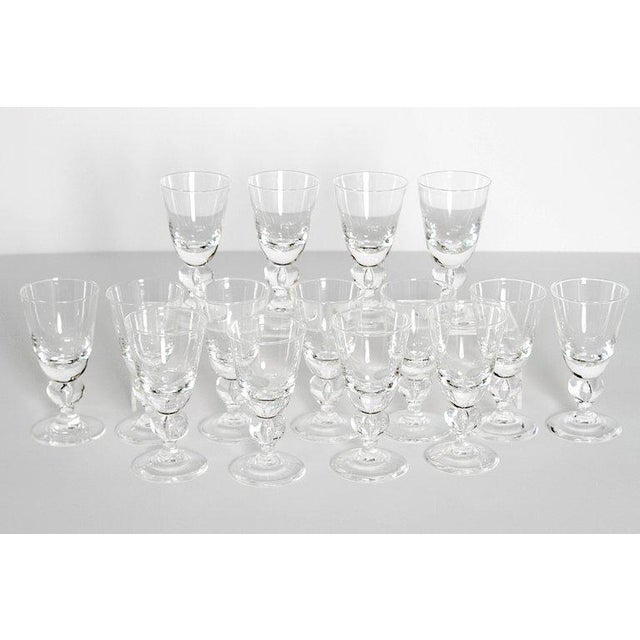 Steuben Glass Set of Fifteen (15) Steuben Baluster Water Goblets For Sale - Image 4 of 12